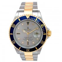 40mm Rolex Two-Tone Submariner Slate Serti 16613.
