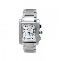 Extra-Large Cartier Stainless Steel Tank Francaise Chronograph Watch