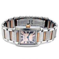 Small 18k Rose Gold and Stainless Steel Tank Francaise Watch W51027Q4