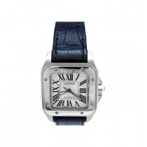 Medium Cartier Stainless Steel Santos 100 Watch W20106X8
