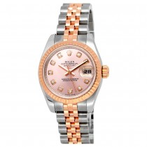 26mm Rolex 18k Rose Gold Stainless Steel Oyster Perpetual Datejust Watch