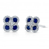 NATURAL COLOR WHITE GOLD TRENDY FLOWER SAPPHIRE EARRINGS