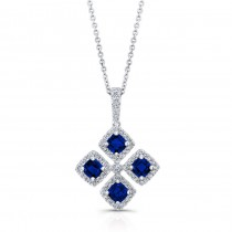 WHITE GOLD NATURAL COLOR INSPIRED SAPPHIRE FLOWER DIAMOND PENDANT