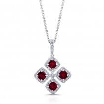 WHITE GOLD NATURAL COLOR INSPIRED RUBY FLOWER DIAMOND PENDANT