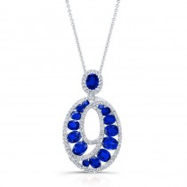 WHITE GOLD NATURAL COLOR FASHION SAPPHIRE SWIRLED DIAMOND PENDANT