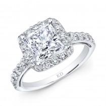WHITE GOLD CLASSIC SQUARE HALO DIAMOND ENGAGEMENT RING