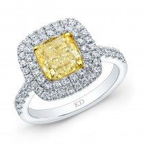 WHITE AND YELLOW GOLD FANCY YELLOW CUSHION HALO DIAMOND ENGAGEMENT RING