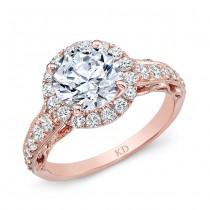 ROSE GOLD CLASSIC ROUND HALO DIAMOND ENGAGEMENT RING