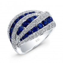 WHITE GOLD NATURAL COLOR CONTEMPORARY SAPPHIRE DIAMOND RING