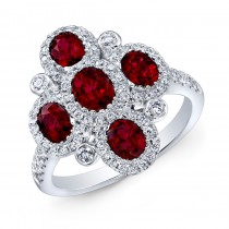 NATURAL COLOR WHITE GOLD FASHION RUBY FLOWER DIAMOND RING