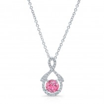 WHITE GOLD PINK ENHANCED ROUND DIAMOND PENDANT