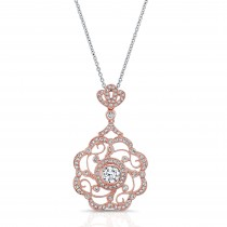 ROSE GOLD  INSPIRED VINTAGE ROUND FLOWER DIAMOND PENDANT