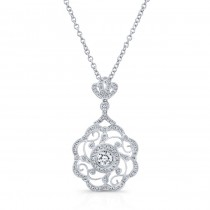 WHITE GOLD VINTAGE ROUND FLOWER DIAMOND PENDANT