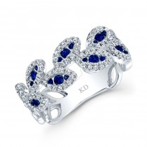 WHITE GOLD NATURAL COLOR VINTAGE ROUND SAPPHIRE DIAMOND RING