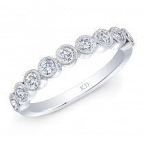 WHITE GOLD STYLISH  STACKABLE DIAMOND BAND