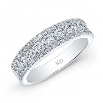 WHITE GOLD THREE ROW PAVE DIAMOND WEDDING BAND