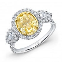 WHITE AND YELLOW GOLD FANCY YELLOW OVAL DIAMOND BRIDAL RING