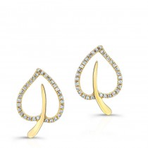 YELLOW GOLD TRENDY DIAMOND EARRINGS