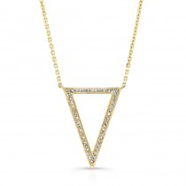 YELLOW GOLD TRENDY V DIAMOND PENDANT
