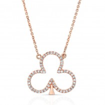 ROSE GOLD CLOVER LEAF DIAMOND PENDANT
