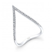 WHITE GOLD STYLISH CURVED V DIAMOND RING