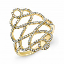 YELLOW GOLD STYLISH TWISTED DIAMOND RING