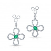 NATURAL COLOR WHITE GOLD FASHION EMERALD DIAMOND FLOWER DROP EARRINGS