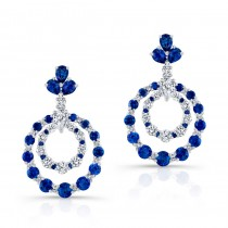 NATURAL COLOR WHITE GOLD SAPPHIRE INSPIRED CIRCLE DIAMOND EARRINGS
