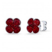 NATURAL COLOR WHITE GOLD CONTEMPORARY FLOWER RUBY EARRINGS
