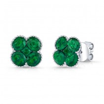NATURAL COLOR WHITE GOLD CONTEMPORARY FLOWER EMERALD EARRINGS