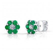 NATURAL COLOR WHITE GOLD STYLISH FLOWER EMERALD EARRINGS