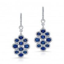 NATURAL COLOR WHITE GOLD SAPPHIRE FLOWER DROP EARRINGS