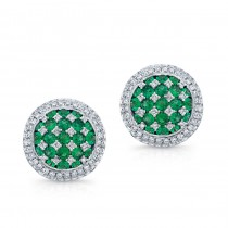 NATURAL COLOR WHITE GOLD EMERALD CHECKERS DIAMOND EARRINGS