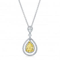 WHITE AND YELLOW GOLD ELEGANT FANCY YELLOW TEAR DROP DIAMOND PENDANT