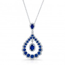 NATURAL COLOR WHITE GOLD INSPIRED TEAR DROP SAPPHIRE DIAMOND PENDANT