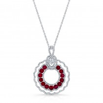 WHITE GOLD NATURAL COLOR CONTEMPORARY RUBY DIAMOND PENDANT