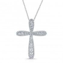 WHITE GOLD  INSPIRED VINTAGE DIAMOND CROSS PENDANT