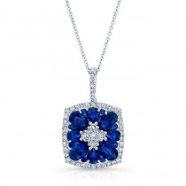 NATURAL COLOR WHITE GOLD INSPIRED FLOWER SAPPHIRE DIAMOND PENDANT