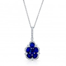 NATURAL COLOR WHITE GOLD CONTEMPORARY SAPPHIRE DIAMOND PENDANT