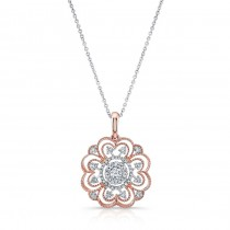 WHITE & ROSE GOLD INSPIRED VINTAGE FLOWER WHITE DIAMOND PENDANT