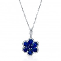 NATURAL COLOR WHITE GOLD  SAPPHIRE FLOWER DIAMOND PENDANT