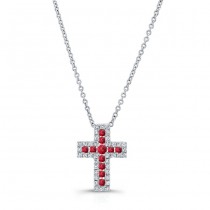 NATURAL COLOR WHITE GOLD RUBY CROSS DIAMOND  PENDANT