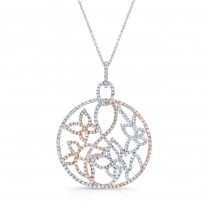 WHITE & ROSE GOLD CONTEMPORARY FLOWER DIAMOND PENDANT