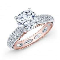 WHITE & ROSE GOLD INSPIRED VINTAGE DIAMOND ENGAGEMENT RING