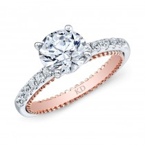 WHITE & ROSE GOLD FASHION DIAMOND ENGAGEMENT RING