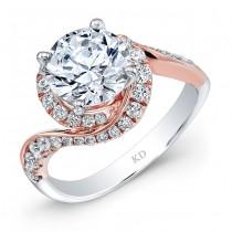 WHITE & ROSE GOLD FASHION SWIRLED DIAMOND BRIDAL RING
