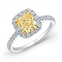 WHITE AND YELLOW GOLD CLASSIC FANCY YELLOW CUSHION DIAMOND BRIDAL RING