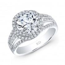WHITE GOLD INSPIRED SWIRLED HALO DIAMOND ENGAGEMENT RING