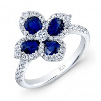 WHITE GOLD NATURAL COLOR SAPPHIRE FLOWER DIAMOND RING