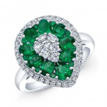 WHITE GOLD NATURAL COLOR INSPIRED EMERALD FLOWER DIAMOND RING